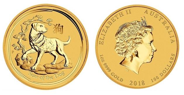 zlaté mince / dog 2018 1 oz (celý)