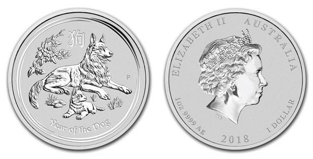 stříbrné mince / dog 2018 1oz (celý)