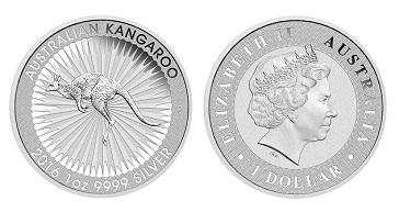 stříbrné mince / kangaroo 1 oz 2016 (celý)