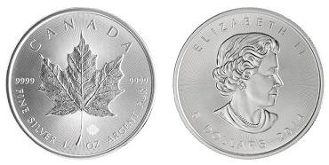 stříbrné mince / maple leaf 1oz 2014 (celý)